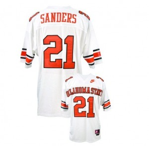 Nike Barry Sanders Oklahoma State Cowboys No.21 - White Football Jersey