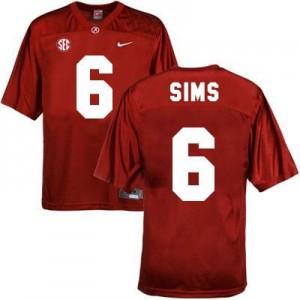 Nike Blake Sims Alabama Crimson Tide No.6 - Crimson Red Football Jersey