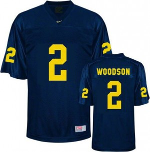Nike Charles Woodson UMich Wolverines No.2 - Navy Blue Football Jersey