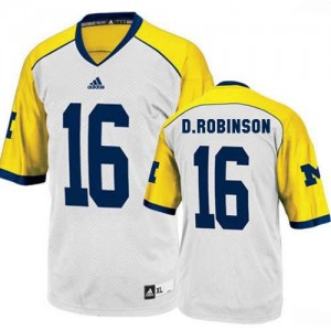 Adida Denard Robinson UMich Wolverines No.16 Youth - White - Yellow Football Jersey