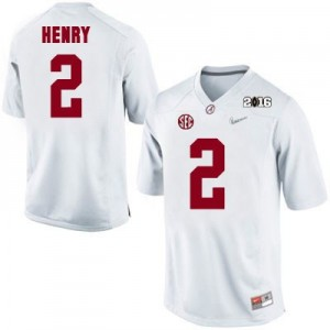 Nike Derrick Henry No.2 Alabama 2016 Championship Patch - White Football Jersey