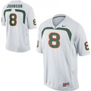 Nike Duke Johnson U of M Hurricanes No.8 Youth - White Football Jersey