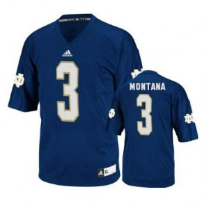 Adida Joe Montana Notre Dame Fighting Irish No.3 Youth - Navy Blue Football Jersey