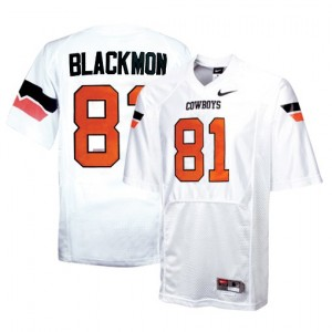 Nike Justin Blackmon Oklahoma State Cowboys No.81 - White Football Jersey