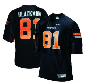 Nike Justin Blackmon Oklahoma State Cowboys No.81 Youth - Black Football Jersey