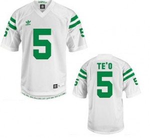 Adida Manti Te'o Notre Dame Fighting Irish No.5 - White Football Jersey