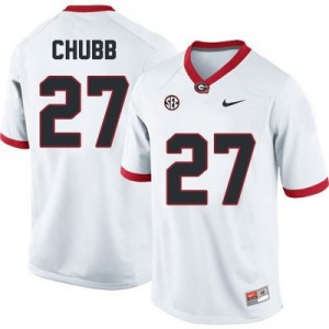Nike Nick Chubb Georgia Bulldogs No.27 - White Football Jersey