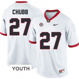 Nike Nick Chubb Georgia Bulldogs No.27 - White - Youth Football Jersey