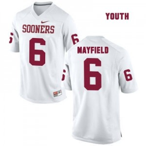 Nike Oklahoma Sooners No.6 Baker Mayfield White - Youth Football Jersey