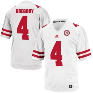 Adida Randy Gregory Nebraska Cornhuskers No.4 Youth - White Football Jersey
