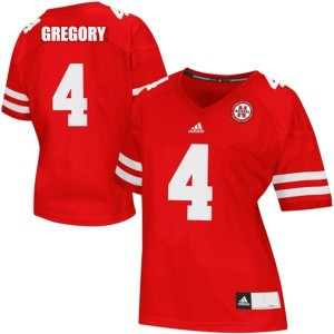 Adida Randy Gregory Nebraska Cornhuskers No.4 Women - Red Football Jersey