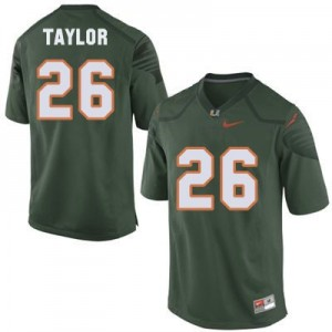 Nike Sean Taylor Miami Hurricanes No.26 - Green Football Jersey