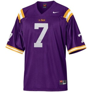 Nike Tyrann Mathieu LSU Tigers No.7 Mesh Youth - Purple Football Jersey