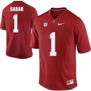 Nike Head Coach Nick Saban No.1 Red Alabama Crimson Tide Football Jersey