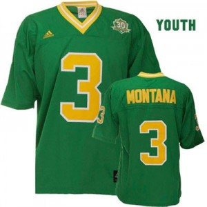 Adida Joe Montana Notre Dame Fighting Irish No.3 Youth - Green Football Jersey