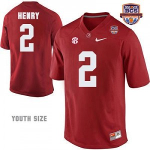 Nike Youth Derrick Henry Alabama Crimson Tide No.2 NCAA Red Patch - 2013 BCS Champion Football Jersey