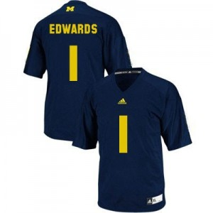 Adida Braylon Edwards UMich Wolverines No.1 Youth - Navy Blue Football Jersey