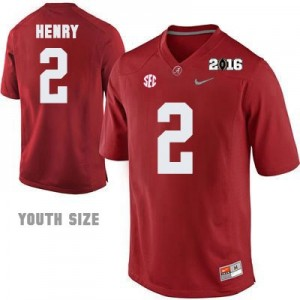 Nike Derrick Henry No.2 Alabama 2016 Championship Patch - Crimson - Youth Football Jersey