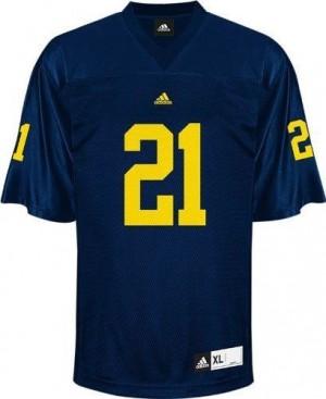 Adida Desmond Howard UMich Wolverines No.21 - Navy Blue Football Jersey