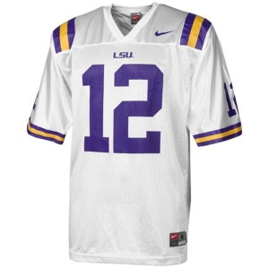 Nike Jarrett Lee LSU Tigers No.12 Mesh - White Football Jersey