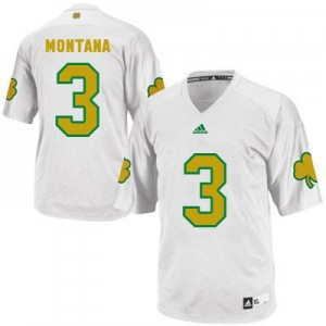Adida Joe Montana Notre Dame Fighting Irish No.3 Shamrock Series Youth - White Football Jersey
