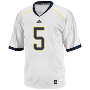 Adida John Wangler UMich Wolverines No.5 - White Football Jersey