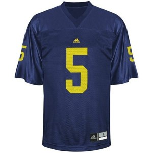 Adida John Wangler UMich Wolverines No.5 Youth - Navy Blue Football Jersey