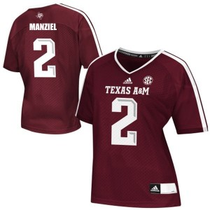 Adidas Johnny Manziel Texas A&M Aggies No.2 Women - Maroon Red Football Jersey