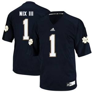 Adida Louis Nix III Notre Dame Fighting Irish No.1 Youth - Navy Blue Football Jersey