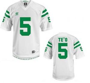 Adida Manti Te'o Notre Dame Fighting Irish No.5 Youth - White Football Jersey