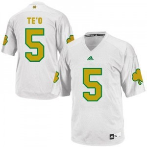 Adida Manti Te'o Notre Dame Fighting Irish No.5 Shamrock Series Youth - White Football Jersey