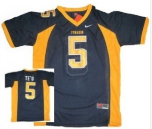 Nike Manti Te'o Punahou High School(Honolulu) No.5 Blue Youth Football Jersey