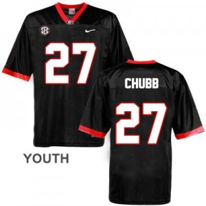 Nike Nick Chubb Georgia Bulldogs No.27 - Black - Youth Football Jersey