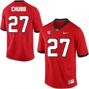 Nike Nick Chubb Georgia Bulldogs No.27 - Red Football Jersey