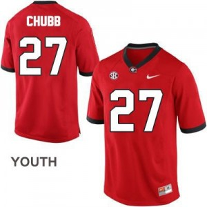 Nike Nick Chubb Georgia Bulldogs No.27 - Red - Youth Football Jersey