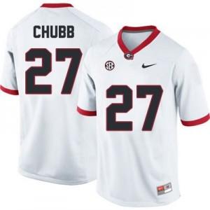 Nike Nick Chubb Georgia Bulldogs No.27 - White Football Jersey