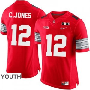 Nike Cardale Jones OSU No.12 Diamond Quest 2015 Patch College - Scarlet - Youth Football Jersey