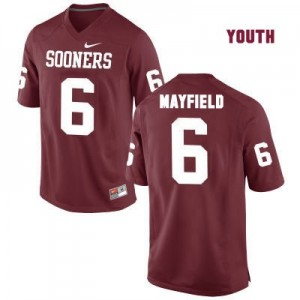 Nike Oklahoma Sooners No.6 Baker Mayfield Red - Youth Football Jersey