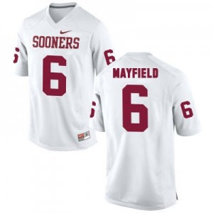 Nike Oklahoma Sooners No.6 Baker Mayfield White Football Jersey