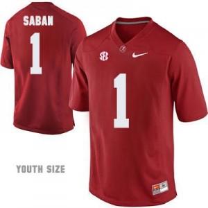 Nike Head Coach Nick Saban No.1 Red Youth Alabama Crimson Tide Football Jersey