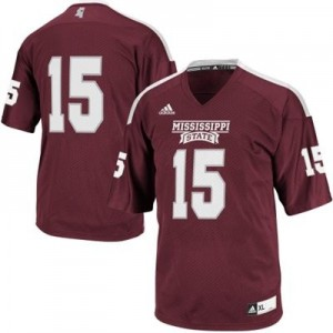 Adida Mississippi State Bulldogs No.15 Youth - Maroon Red Football Jersey