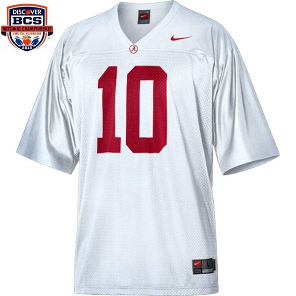 533291148 Nike A.J. McCarron Alabama Crimson Tide No.10 BCS Bowl Patch - White  Football Jersey